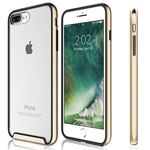 Funda iPhone 7 Plus - KHOMO Carcasa Transparente Triple Protección con Borde Bumper Case de Colores Antichoque para el Nuevo Apple iPhone 7 Plus - Dorado