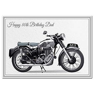 Special 80th Birthday Cards - Unusual Unique Cool - Happy Eightieth 80 Year Old (Dad 80th Birthday Card - AJS Motorbike)