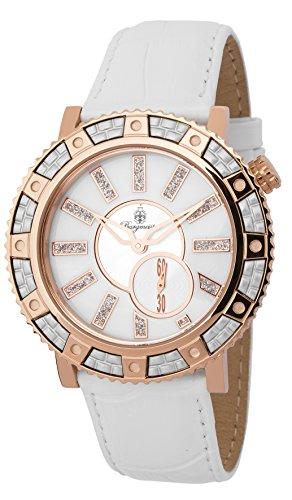 Burgmeister BM802-386 - Reloj de cuarzo para mujer, correa de cuero color blanco