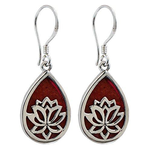 I de Be, gota Pendientes Coral Rojo con Flor de Lotus, Plata 925, 392704Lotus
