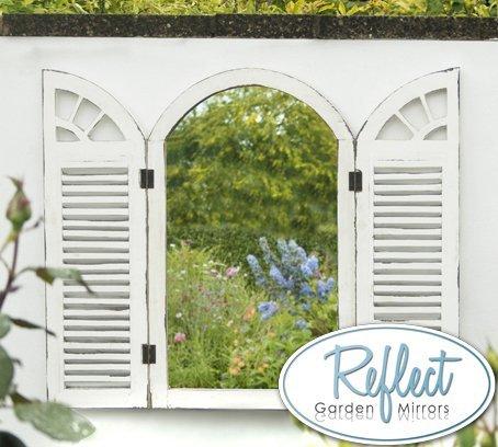 Reflect Garden Window Mirror with Shutters - Antique-Effect Glass Outdoor