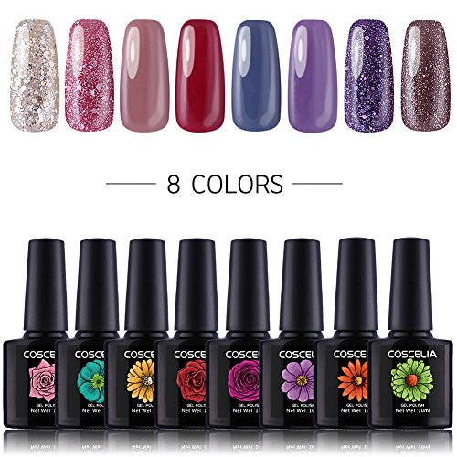 Uv-soak (Coscelia Gel Nagellack Set Soak Off UV LED Nagellack Maniküre Set 8 Farben gellack Geschenk Set)