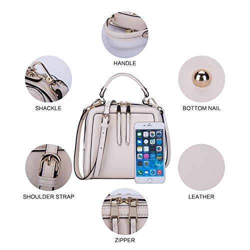 BOYATU Frauen echtes Leder Handtasche Mini Paket Schultertasche Square Totes Abend Halter Tasche (schwarz) Weiß