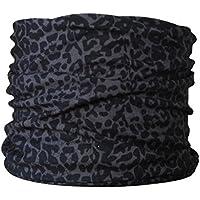 Braga para el cuello, pañuelo de microfibra multifunción, diseño de leopardo oscura
