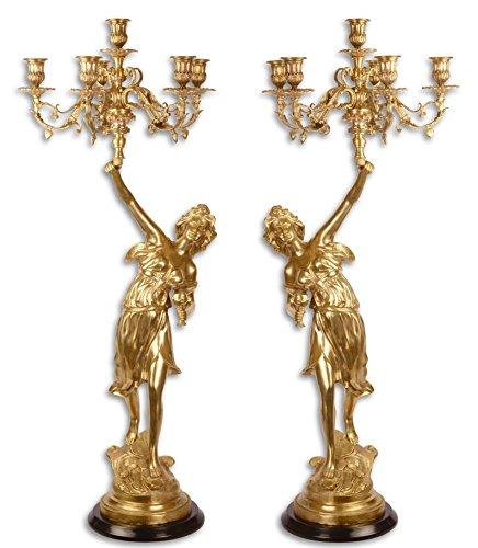 Casa-Padrino candelabro Barroco engastado en Oro 32,5 x 32,5 x H. 87 cm - Decoración de Hotel y...