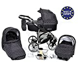 ALLIVIO, 3-in-1 Travel System with Baby Pram, Car Seat, Pushchair & Accessories (3in1 Travel System -Baby tub, Sport seat, Car seat, Black & White Polka Dots)