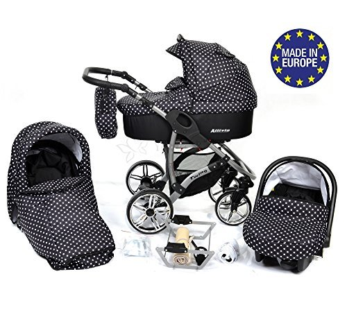 ALLIVIO, 3-in-1 Travel System with Baby Pram, Car Seat, Pushchair & Accessories, Black & White Polka Dots 512YLYq2EqL