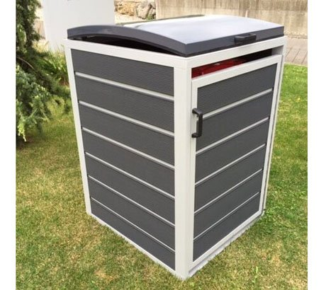 *Prewood WPC Mülltonnenbox, Mülltonnenverkleidung für 1x 240l Mülltonne grau // 86x76x127 cm (LxBxH) // Gerätebox, Gartenbox & Mülltonneneinhausung*