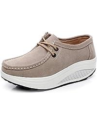 Shenn Mujer Zapatos Invierno Cálido Plataforma Con La Piel Tacón Cuña Gamuza Zapatillas De Moda (Rosa,EU37.5)