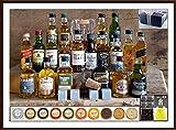 20 Whisky Miniaturen + 20 Edel Schokoladen + 4 Untersetzer + 4 Kühlsteine + Flaschenportionierer + Ice Ball & Glas im Geschenk Karton kostenloser Versand