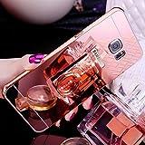 JAWSEU Custodia Cover Samsung Galaxy A7 2017 Specchio Silicone TPU, Moda Lusso Placcatura Diamante Glitter Bling Supporto dell'anello Ultra Sottile Morbida Gel Protettiva Bumper Case