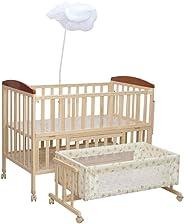 Mee Mee Baby Wooden Cot (Swing & Mosquito Net - Natural Pine)