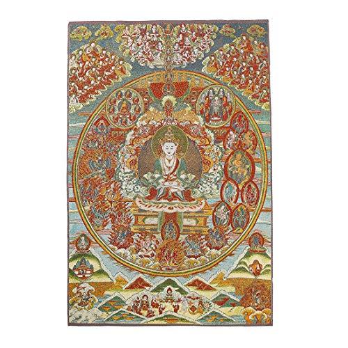 Prime Feng Shui Seiden-Stickerei Tibetische Thangka mit grünem Tara/Kashgari Buddha/Vier Armen Kwan Yin Avalokitesvara Wandbehang für Heimdekor, Thangka Meditation Kt029