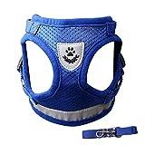 Zhiye Reflektierende Atmungsaktive Hund Weste verstellbares Hundegeschirr Pet Hunde Katzen Weste mit Walking Leine Set Griff Einfache Kontrolle für Outdoor Walking und Autofahrten, Blau, Large