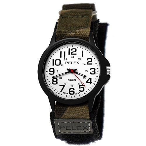Pelex London Camouflage Kinder-Uhr Jungen-Uhr Mädchen-Uhr für Kinder Analog Quarz Textil Nylon Klettverschluss Armband-Uhr Schwarz Weiß Grün grau Japanisches...