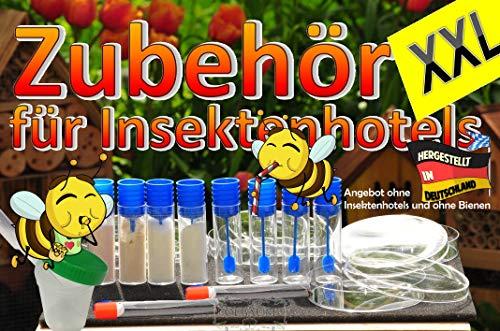 ÖLBAUM XXL-Zubehörset, für Insektenhotel, Bienenhotel und Wildbienen - Futterstation mit Tränken und Futterschalen, 4X Futterkonzentrate Menüplan, Gästeliste und Anleitung + witzige Hotelzeitung