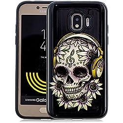 Coque Samsung Galaxy Grand Prime Pro 2018 Antichoc [2 en 1: Interne Souple Silicone TPU + Externe Dur Plastiques], Protection Housse Mince Léger Flexible Lisse Anti Rayure, Crâne