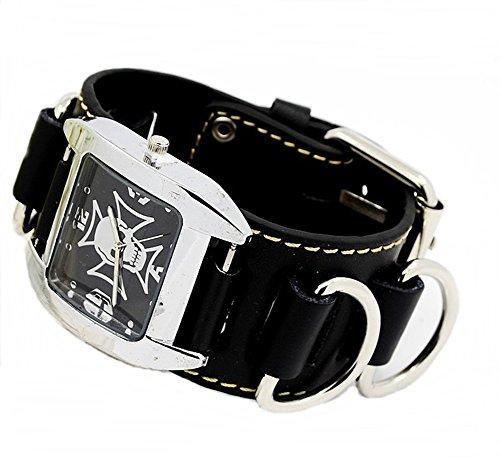 Armbanduhr Quartzuhr Bikeruhr Lederarmband Totenkopf Skull Eisernes Kreuz schwarz
