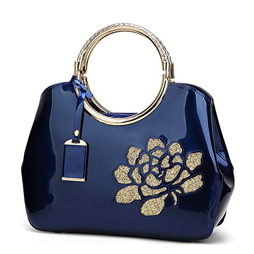 FavoMode, Borsa a mano donna arancione Orange Handbag taglia unica Royal Blue Handbag with Flower
