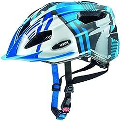 Uvex Quatro Junior - Casco de ciclismo para niños, color azul / plata, talla 50-55