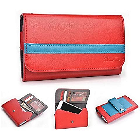 Kroo Universal funda para teléfono tapa tipo cartera para Huawei Honor/Ascend Y330 multicolor Ruby Red and Electric Blue