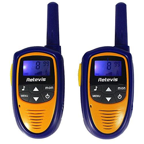 Retevis RT31 PMR Walkie Talkie für Kinder 0,5W mit LC-Display (2er-Set, Blau und Gelb)