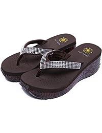 WANGXN Womens Flip Flap Zapatillas Sandalias Casual Sandalias de tacón alto No-Slip Respirable