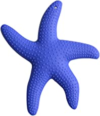 Forberesten Starfish Teeth Rubber Silicone Sensory Teether Baby Infant Activity Toy BPA Free Teether (Dark Blue)