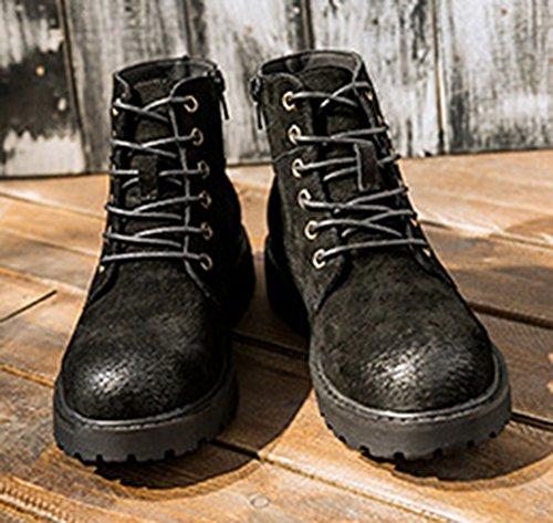 Aisun Femme Confort Low-Boots à Lacets Boots Noir