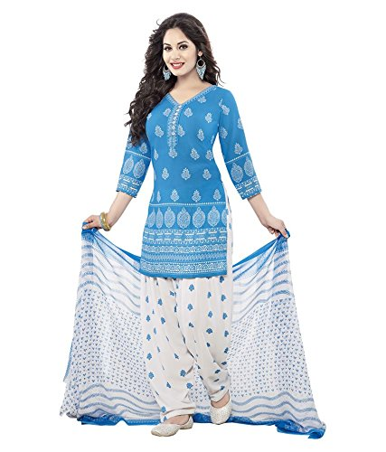 Rangrasiya Women's Cotton Printed Unstitched Salwar Suit (PD2204_Blue and White_Free...