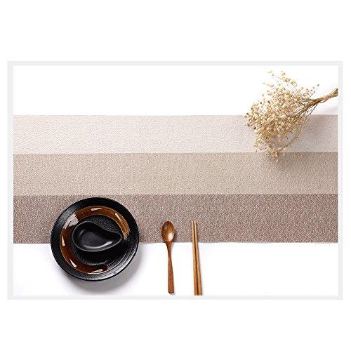 Sunger Rutschfeste Waschbare Tischläufer, Hitzebeständige Tischdecken für Hotel Restaurant Garten Terrasse Küche Café Balkon - Braun (Sahne Quadratischen Tischdecken)