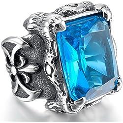 MunkiMix Grande Gran Acero Inoxidable Vidrio Glass Anillo Ring El Tono De Plata Negro Azul Dragón Garra La Flor De Lis Talla Tamaño 20 Hombre
