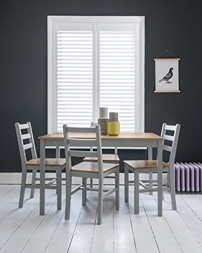 Annika Dining Table And 4 Chairs Bench In Silk Grey Natural Pine Produced By