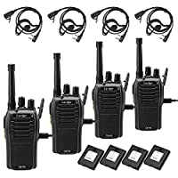 Caroger Rechargeable Walkie Talkie License-Free PMR 446MHz 16 Channels Business Professional Two Way Radio Long Range with USB Charger and Earpieces (4 Packs,Black)