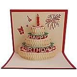 Geburtstagskarte Kuchen und Kerzen 3D-Pop-Up-Grußkarte mit scharlachroten Umschlag und liebevoll gefertigtem Liebe-Aufkleber für Geburtstag Geburtstagsgeschenk handgemachtes Handwerk Kirigami