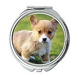 Yanteng Spiegel, runder Spiegel, lustiger schwarzer Labrador-Hundebabyhund, Taschenspiegel, 1 X 2X Vergrößern