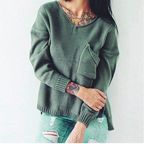 Yinew Damen Openwork Jacke Damen Pullover Strickjacke Frauen Wickeln V-Ausschnitt Taschen Pullover
