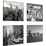Cuadros en Lienzo 4x20 x 20 cm Nr. 6901 Nueva York enmarcado y listo para colgar, calidad de la marca Visario
