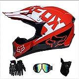 Tangzhi Motocross Moto Cascos de Moto, Guantes Y Gafas Certificación D.O.T Niños Quad Bike ATV Go Karting Helmet (Color : S)