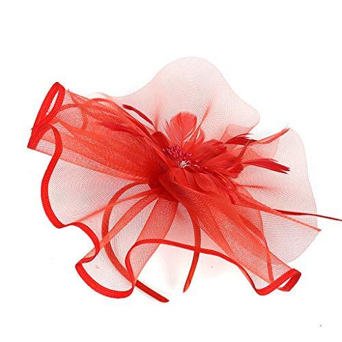 Personalisierte Stricken Hut (YWLINK Fascinators Hut Damen Cocktail Fascinator Haarreif Englische Tee Tanzparty Party Retro Headwear 1920er Jahre ZubehöR Stirnband Fascinators Hut Blume Mesh BäNder Federn Auf Einem Stirnband)