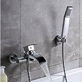 KINSE Wannenarmatur mit Brausegarnitur Chrom Armatur Wasserfall Badewanne Wasserhahn inkl. Wandhalterung mit Handbrause für Bad Badezimmer