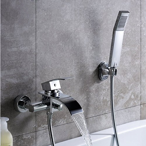 KINSE Wannenarmatur mit Brausegarnitur Chrom Armatur Wasserfall Badewanne Wasserhahn inkl. Wandhalterung mit Handbrause für Bad Badezimmer (Badewanne Wasserfall Wasserhahn)