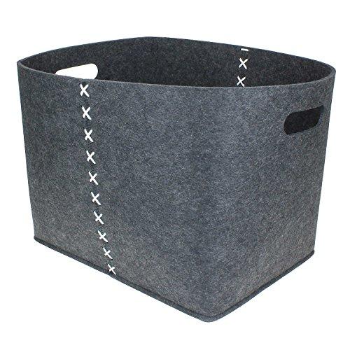 Hochwertige Filzkörbe oval dunkel-grau , Zeitungskorb stabil und robust. Verschiedene Größen oder im 3er Set. Allzwecktasche Filz, Aufbewahrung, Filz-Box (S (28x35 cm))