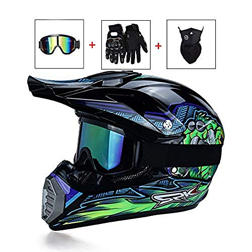 Wanmei Casco Cross da Uomo Casco Cross Blu e Verde Monster Set Casco con Maschera/Maschera/Guanti Casco Moto Donna Uomo Sport ATV MTB Quad Moto off-Road Racing Downhill Enduro Casco Cross@L
