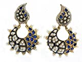 gold plated earrings with blue and white...