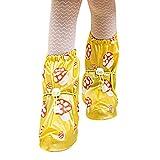 Sasairy Couvre-Chaussures Réutilisable Imperméable Pluie Neige Protection Chaussures Housses Antidérapantes avec Motif à Champignon pour Enfant Fille et Garçon Jaune,M
