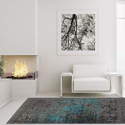 Lalee Hochwertiger Hangefertigter Cocoon Vintage Teppich Flachgeweb-Teppich Im Vintage-Look Braun Blau, Größe in cm:80 x 150 cm
