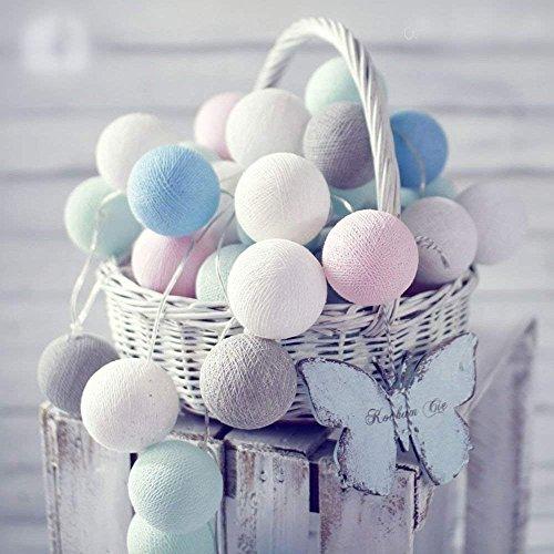 Loisleila 20 Cotton Ball LED String Fairy Nachtlichter mehrfach Farbe Batterie betrieben Indoor Outdoor Party Dekoration