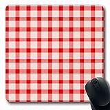 Alfombrilla para computadora Portátil Cesta Nueva Mesa Rojo Color de la Vendimia Superficie Abstracta Picnic Desayuno Brillante Cuadros A Cuadros País Juego Antideslizante Alfombrilla de ratón