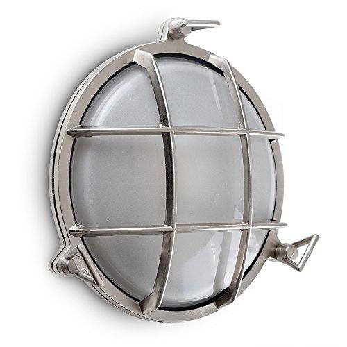 Nautische Außenwand (MiniSun – Moderne, metallische und runde Außenwandleuchte mit einem gebürsteten silverfarbigen Finish und einem Lampenschirm aus Milchglas – IP66 Außenwandleuchte)
